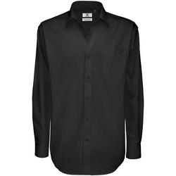 Textil Homem Camisas mangas comprida B And C SMT81 Preto