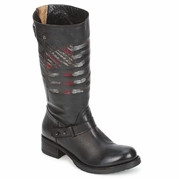Sapatos Mulher Botas baixas Strategia ENRO Preto / Estampado / Bandeira