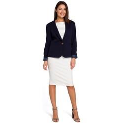 Textil Mulher Vestidos Style S154 Blazer de botão único - azul-marinho
