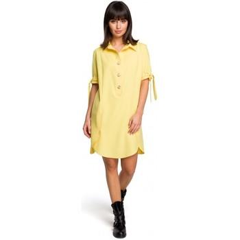 Textil Mulher Vestidos curtos Be B112 Túnica com gola e mangas amarradas - amarela
