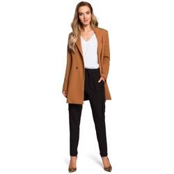 Textil Mulher Saias Moe M429 blazer duplo peitoral longo - caramelo