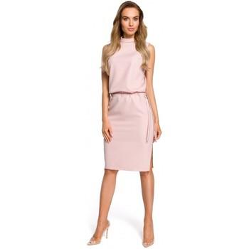 Textil Mulher Vestidos Moe M423 Vestido blouson de costas divididas - pó