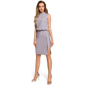 Textil Mulher Vestidos Moe M423 Vestido blouson de costas divididas - cinzento