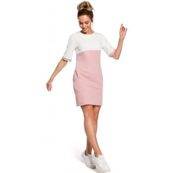Textil Mulher Vestidos Moe M418 Vestido colorblock shift - pó + ecru