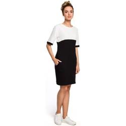 Textil Mulher Vestidos Moe M418 Vestido colorblock shift - preto + ecru