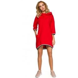 Textil Mulher Vestidos curtos Moe M401 Túnica com capuz - vermelho