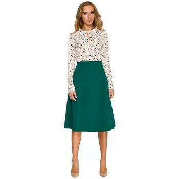 Textil Mulher Sweats Style S134 Blusa de friso com gola de gravata - ecru
