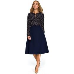 Textil Mulher Tops / Blusas Style S133 Saia midi de linha A - azul-marinho