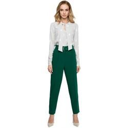 Textil Mulher Vestidos Style S124 Calças de altawaist com cinto - verde