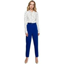 Textil Mulher Vestidos Style S124 Calças de altawaist com cinto - azul real