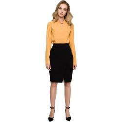 Textil Mulher Vestidos Style S127 Saia de lápis de embrulho - preto