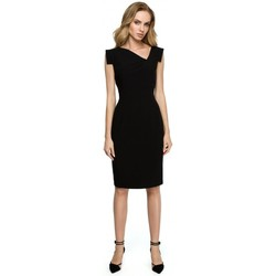 Textil Mulher Saias Style S121 Vestido a lápis com decote assimétrico - preto