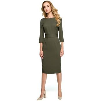 Textil Mulher Vestidos Style S119 Vestido de botão simples para baixo - caqui
