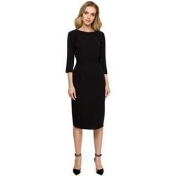 Textil Mulher Vestidos curtos Style S119 Vestido de botão simples - preto