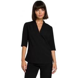 Textil Mulher Tops / Blusas Be B090 Topo em V simples com decote em V - preto