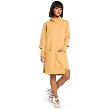 Textil Mulher Vestidos Be B089 Vestido assimétrico de pescoço de rolo - amarelo
