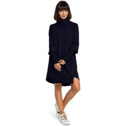 Textil Mulher Vestidos Be B089 Vestido assimétrico de pescoço de rolo - azul-marinho
