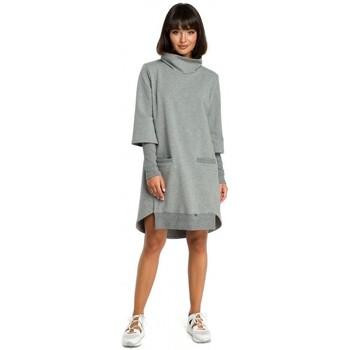 Textil Mulher Vestidos Be B089 Vestido assimétrico de pescoço de rolo - cinzento