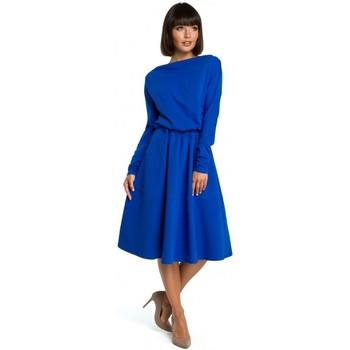 Textil Mulher Vestidos curtos Be B087 Vestir-se em forma e flare midi - azul real