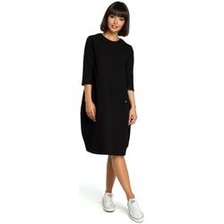 Textil Mulher Vestidos curtos Be B083 Vestido sobredimensionado com um bolso frontal - preto