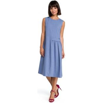 Textil Mulher Vestidos curtos Be B080 Vestido sem mangas Airy midi - azul