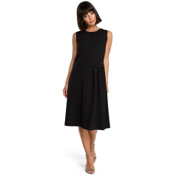 Textil Mulher Vestidos curtos Be B080 Vestido sem mangas Airy midi - preto