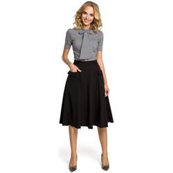 Textil Mulher camisas Moe M321 Saia midi com bolsos - preta