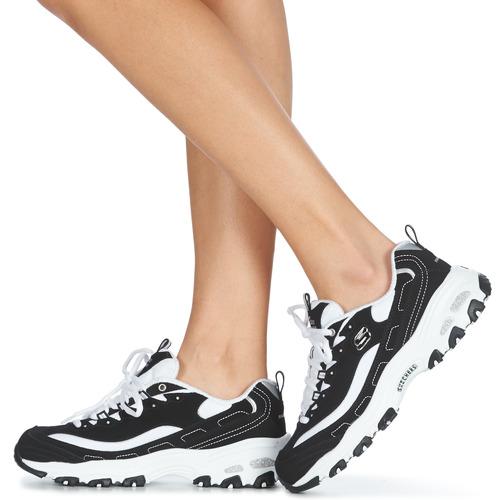 Skechers D'LITES Preto / Branco - Entrega gratuita- Sapatos Sapatilhas Mulher 72