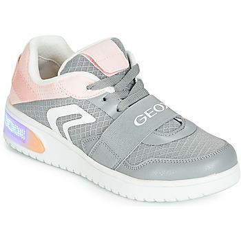 Sapatos Rapariga Sapatilhas de cano-alto Geox J XLED GIRL Cinza / Rosa