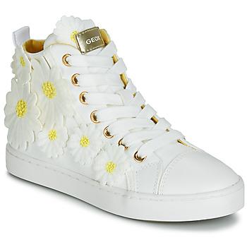 Sapatos Rapariga Sapatilhas de cano-alto Geox JR CIAK GIRL Branco / Flor / Amarelo