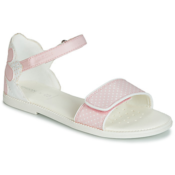 Sapatos Rapariga Sandálias Geox J SANDAL KARLY GIRL Branco / Rosa
