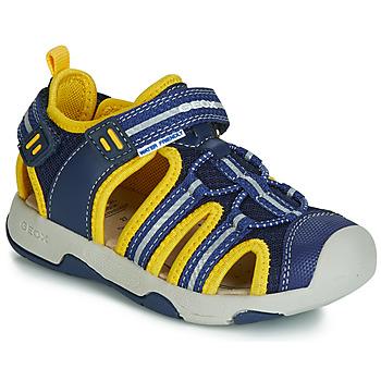 Sapatos Rapaz Sandálias Geox B SANDAL MULTY BOY Azul / Amarelo