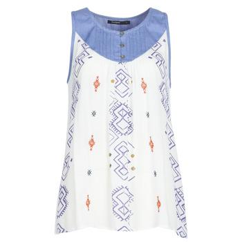 Textil Mulher Tops sem mangas Desigual MEKANE Branco / Azul