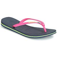 Sapatos Mulher Chinelos Havaianas SLIM BRASIL LOGO Navy / Rosa
