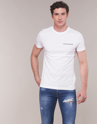 Textil Homem T-Shirt mangas curtas Calvin Klein Jeans CHEST INSTITUTIONAL SLIM SS TEE Branco