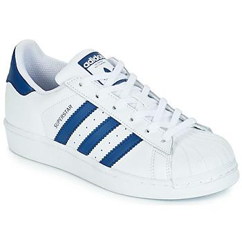 Sapatos Criança Sapatilhas adidas Originals SUPERSTAR J Branco / Azul