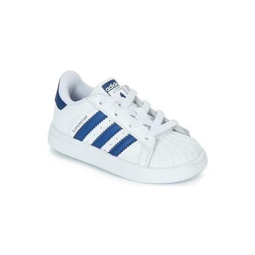 Sapatos Criança Sapatilhas adidas Originals SUPERSTAR EL Branco / Azul