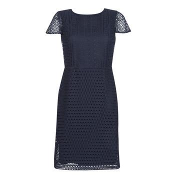 Textil Mulher Vestidos curtos Lauren Ralph Lauren NAVY SHORT SLEEVE DAY DRESS Marinho