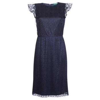Textil Mulher Vestidos curtos Lauren Ralph Lauren LACE CAP SLEEVE DRESS Marinho