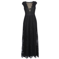 Textil Mulher Vestidos compridos Lauren Ralph Lauren CAP SLEEVE LACE EVENING DRESS Preto
