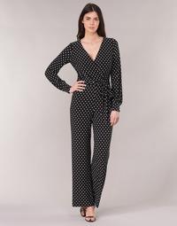 Textil Mulher Macacões/ Jardineiras Lauren Ralph Lauren POLKA DOT WIDE LEG JUMPSUIT Preto / Branco