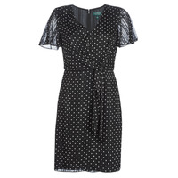 Textil Mulher Vestidos curtos Lauren Ralph Lauren POLKA DOT-SHORT SLEEVE-DAY DRESS Preto