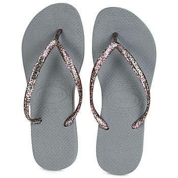 Sapatos Mulher Chinelos Havaianas SLIM LOGO METALLIC Cinza