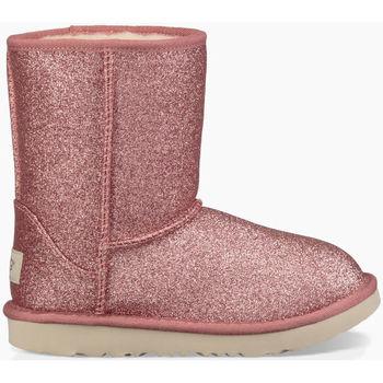 Sapatos Criança Botas de neve UGG CLASSIC SHORT II GLITTER KIDS Rosa