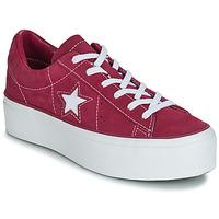 Sapatos Mulher Sapatilhas Converse ONE STAR PLATFORM SUEDE OX Rosa fúchia  / Branco