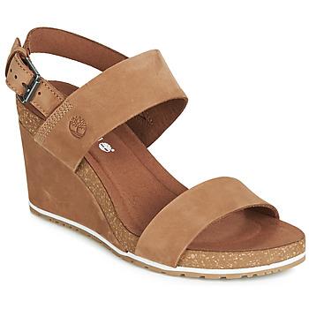 Sapatos Mulher Sandálias Timberland CAPRI SUNSET WEDGE Castanho