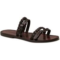 Sapatos Mulher Chinelos Gianluca - L'artigiano Del Cuoio 575 D MORO CUOIO Testa di Moro