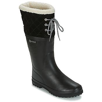 Sapatos Mulher Botas de borracha Aigle POLKA GIBOULEE Preto