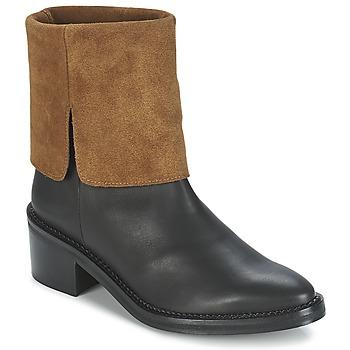 Sapatos Mulher Botas baixas Miista KAMILA Preto / Castanho