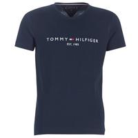 Textil Homem T-Shirt mangas curtas Tommy Hilfiger TOMMY FLAG HILFIGER TEE Marinho